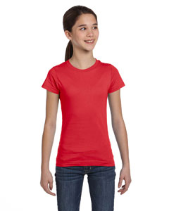 Red Girls' Fine Jersey T-Shirt