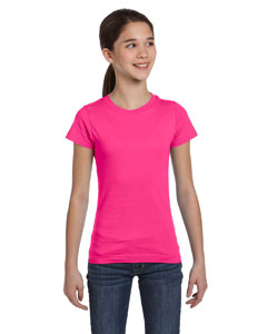 Hot Pink Girls' Fine Jersey T-Shirt