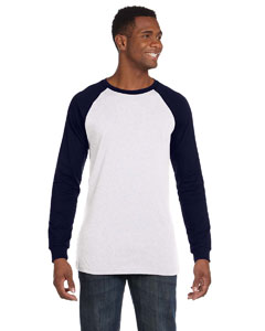 White/navy Men's Jersey Long-Sleeve Baseball T-Shirt
