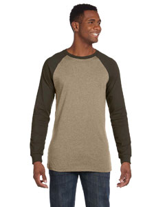 Tan/army Men's Jersey Long-Sleeve Baseball T-Shirt
