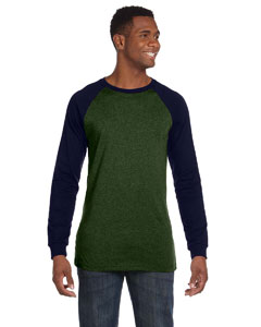 Olive/navy Men's Jersey Long-Sleeve Baseball T-Shirt