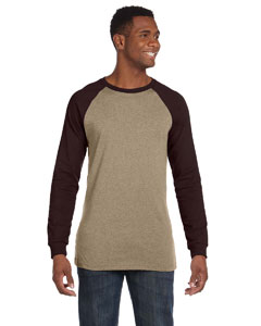 Tan/brown Men's Jersey Long-Sleeve Baseball T-Shirt
