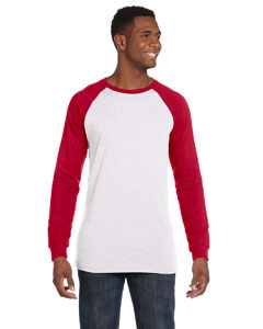 White/canvas Red Men's Jersey Long-Sleeve Baseball T-Shirt