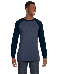 Hther Nvy/midnight Men's Jersey Long-Sleeve Baseball T-Shirt