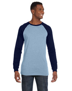Baby Blue/navy Men's Jersey Long-Sleeve Baseball T-Shirt