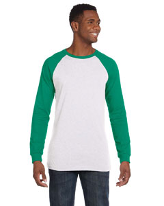 White/kelly Men's Jersey Long-Sleeve Baseball T-Shirt