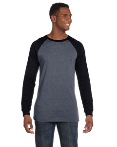 Deep Heather/black Men's Jersey Long-Sleeve Baseball T-Shirt