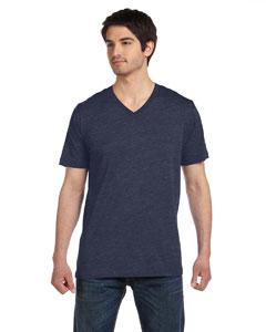 Heather Navy Unisex Jersey Short-Sleeve V-Neck T-Shirt