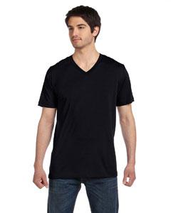 Black Unisex Jersey Short-Sleeve V-Neck T-Shirt