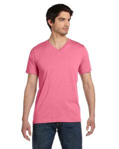 Neon Pink Unisex Jersey Short-Sleeve V-Neck T-Shirt