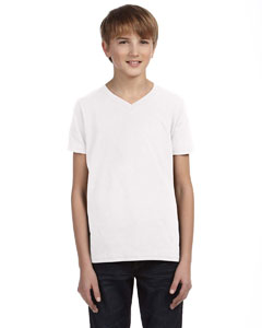 White Youth Jersey Short-Sleeve V-Neck T-Shirt