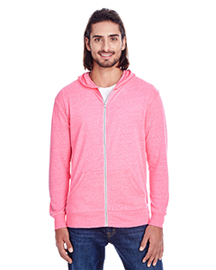 Neon Pink Tribld Unisex Triblend Full-Zip Light Hoodie
