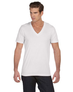White Unisex Jersey Short-Sleeve Deep V-Neck T-Shirt