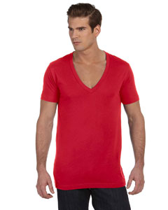 Red Unisex Jersey Short-Sleeve Deep V-Neck T-Shirt