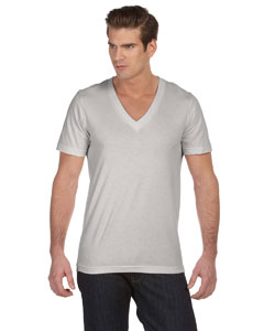 Silver Unisex Jersey Short-Sleeve Deep V-Neck T-Shirt