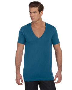 Deep Teal Unisex Jersey Short-Sleeve Deep V-Neck T-Shirt