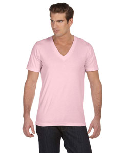 Soft Pink Unisex Jersey Short-Sleeve Deep V-Neck T-Shirt