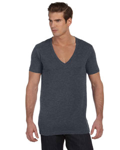 Deep Heather Unisex Jersey Short-Sleeve Deep V-Neck T-Shirt