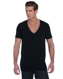 Black Unisex Jersey Short-Sleeve Deep V-Neck T-Shirt
