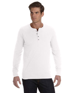 White Men's Jersey Long-Sleeve Henley