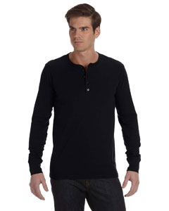 Black Men's Jersey Long-Sleeve Henley