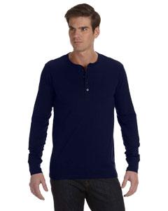 Navy Men's Jersey Long-Sleeve Henley