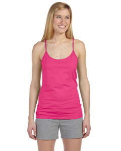 Hot Pink Women's Semi-Sheer Spaghetti Strap Tank Top