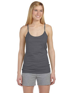 Charcoal Women's Semi-Sheer Spaghetti Strap Tank Top