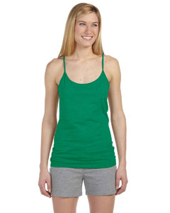 Heather Green Women's Semi-Sheer Spaghetti Strap Tank Top