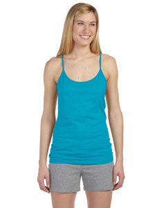 Caribbean Blue Women's Semi-Sheer Spaghetti Strap Tank Top