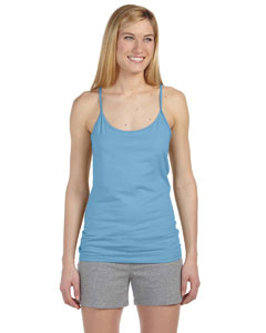Light Blue Women's Semi-Sheer Spaghetti Strap Tank Top