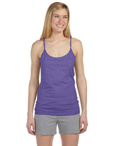 Heather Purple Women's Semi-Sheer Spaghetti Strap Tank Top