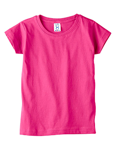 Hot Pink Toddler 4.5 oz. Girls' Fine Jersey Longer Length T-Shirt