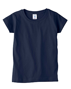 Navy Toddler 4.5 oz. Girls' Fine Jersey Longer Length T-Shirt