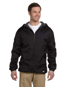Black Fleece-Lined Hooded Nylon Jacket