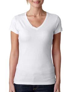 White Ladies' Sporty V-Neck Tee