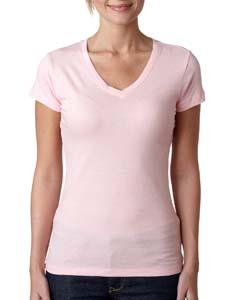 Light Pink Ladies' Sporty V-Neck Tee