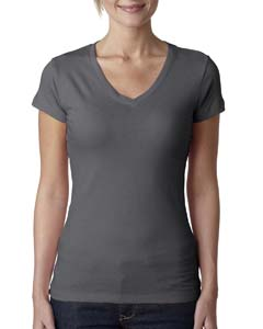 Dark Gray Ladies' Sporty V-Neck Tee