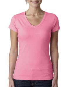 Hot Pink Ladies' Sporty V-Neck Tee
