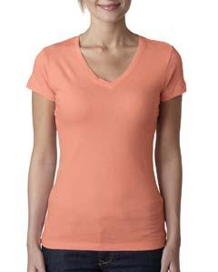 Light Orange Ladies' Sporty V-Neck Tee