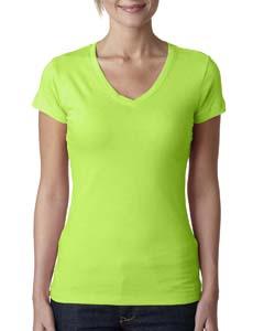 Neon Green Ladies' Sporty V-Neck Tee