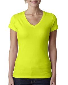 Neon Yellow Ladies' Sporty V-Neck Tee