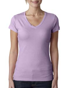Lilac Ladies' Sporty V-Neck Tee