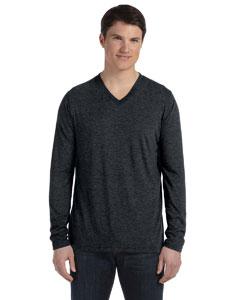 Black Men's Jersey Long-Sleeve V-Neck T-Shirt