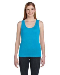 Turquoise Women's Combed Ringspun 2x1 Rib Tank
