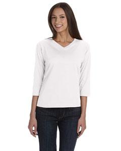 White Women's Combed Ringspun Jersey V-Neck 3/4-Sleeve T-Shirt