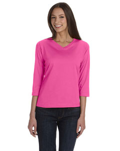 Raspberry Women's Combed Ringspun Jersey V-Neck 3/4-Sleeve T-Shirt