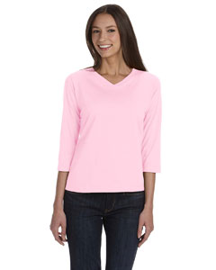 Pink Women's Combed Ringspun Jersey V-Neck 3/4-Sleeve T-Shirt