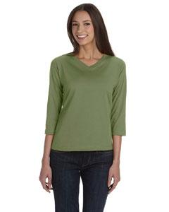 Olive Women's Combed Ringspun Jersey V-Neck 3/4-Sleeve T-Shirt