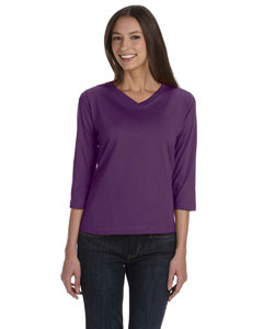 Eggplant Women's Combed Ringspun Jersey V-Neck 3/4-Sleeve T-Shirt